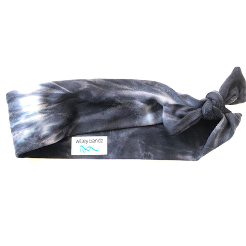 Distressed Black and White Tie-Dyed 2-inch headband