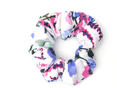 Pink and Blue Floral on White Scrunchie