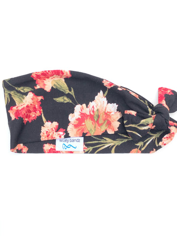 Shades of Coral Floral on Black 3-inch headband