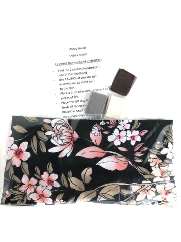 """Add a Scent""  Pink and Caramel Floral on Black Headband"
