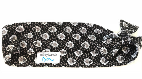 Black White and Gray Vines 2-inch headband