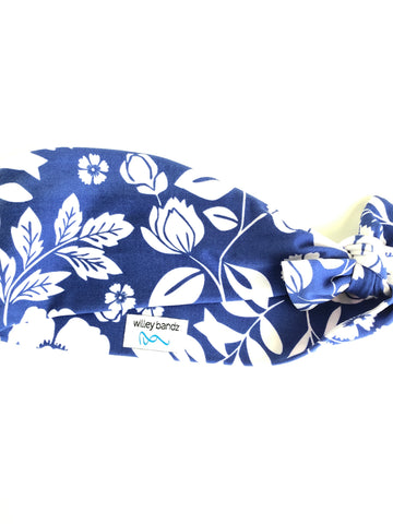 Royal Blue with White Floral 3-inch headband