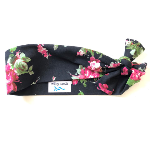 Red Roses on Black 2-inch headband