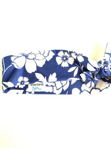 Royal Blue with White Floral 2-inch headband