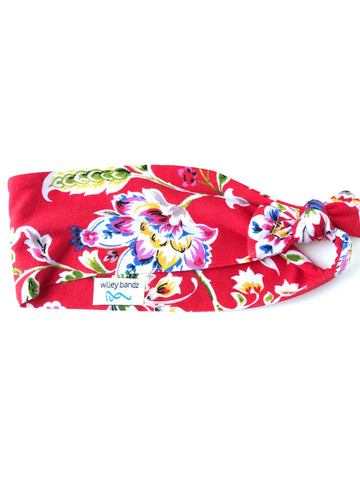 Colorful Floral on Red 3-inch headband
