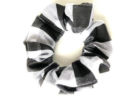 Black and White Buffalo Plaid Scrunchie