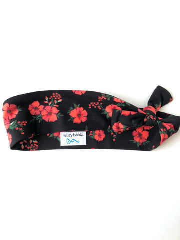 Red Flowers on Black 2-inch headband