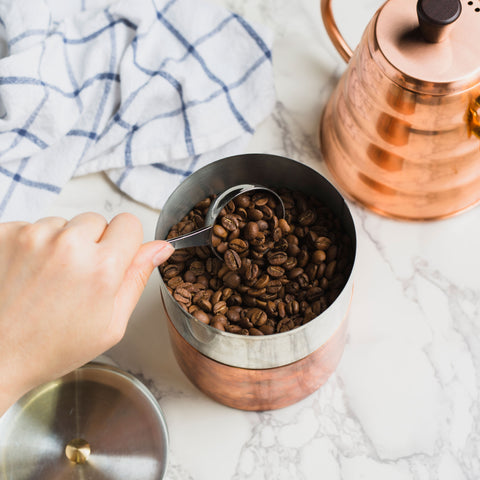coffee in copper canister