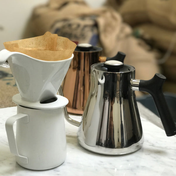 pour over set up with fellow brand stagg kettles