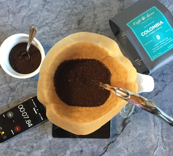 an above shot of pour over coffee immediately after the first pour
