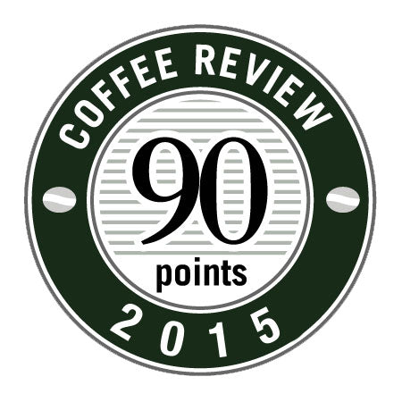 90 Points in 2015 Coffee Review Badge.