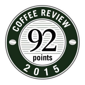 92 Points in 2015 Coffee Review Badge.