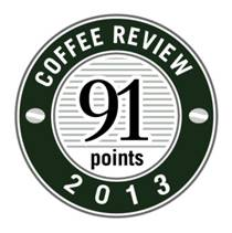 91 Points in 2013 Coffee Review Badge.