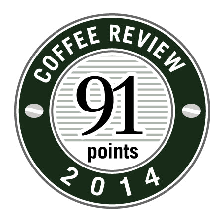 91 Points in 2014 Coffee Review Badge.