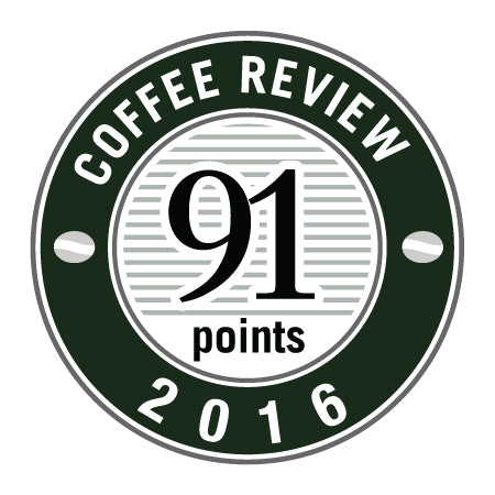 91 Points in 2016 Coffee Review Badge.
