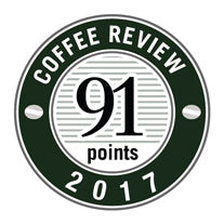 91 Points in 2017 Coffee Review Badge.