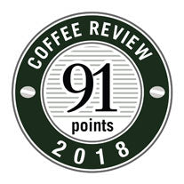91 POints in 2018 Coffee Review Badge.