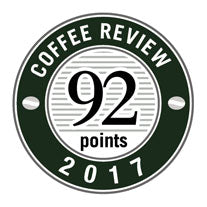 92 Points in 2017 Coffee Review Badge.