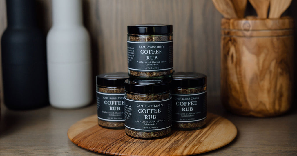 stacked jars of caffe luxxe coffee rub
