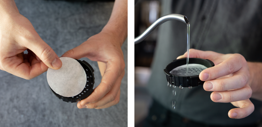 two images side by side. on the left a hand places an aeropress filter in the cap. on the right, water is being poured on the filter & cap assembly