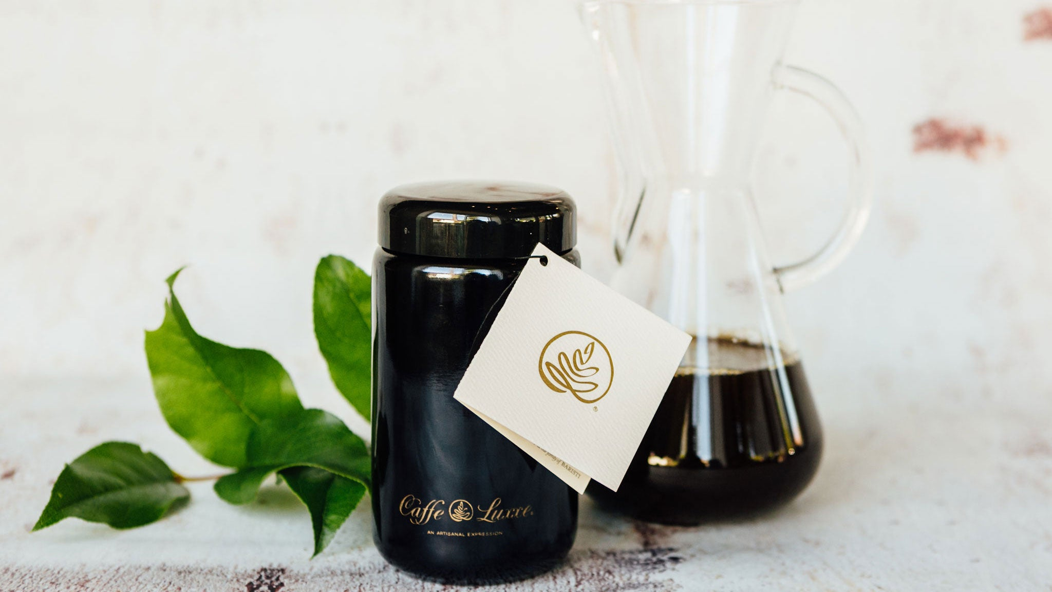 black canister of caffe luxxe gesha coffee