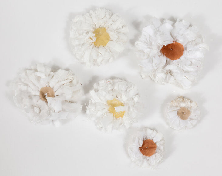 Decorative White Cotton Flower Strands