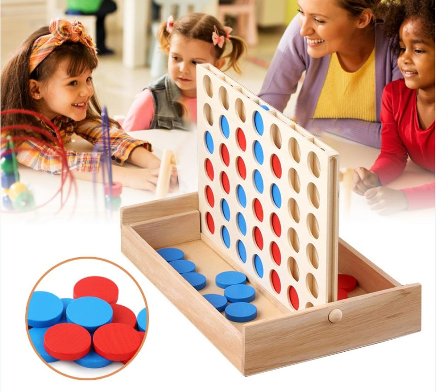 Woody4™ Connect 4 Four in a Row Board Game | Four in Line Family Board Game