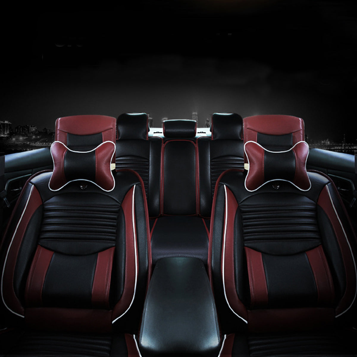 Black PU Leather Full Car Seat Cover Cushion Front & Rear Set