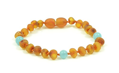 Amber Teething Bracelet for Babies with Turquoise or Quartz Stones - 5.5 Inches (14 Cm) - Baltic Amber Land - Knotted for Safety - Polished Cherry Amber Beads - Screw