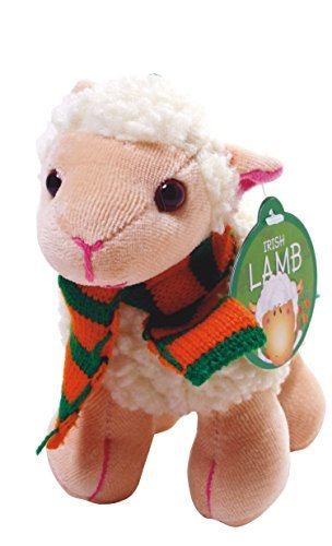 "5.5"" Irish White Lamb with Scarf & Shamrock Patch Soft"