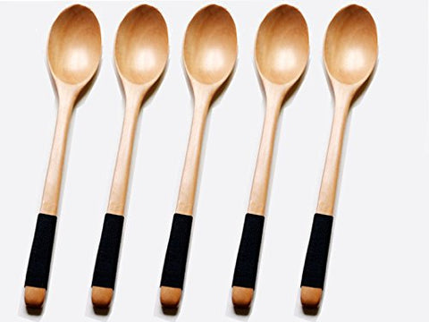 10inch Long Handle Wooden Cooking Mixing Spoon Kids wood Soup Spoons Lotus wood Rice Serving Tableware Flatware Set with Tied Line on Handle