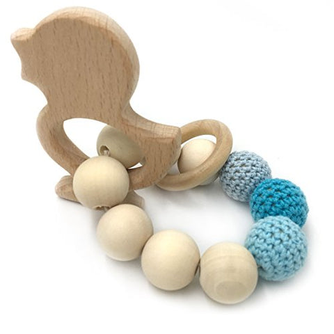 Amyster Crochet Bead Teething Ring Set Untreated Beech Teether with Organic Wood Animal Toy Wood Bracelet Baby Mom Kids Wooden Teether