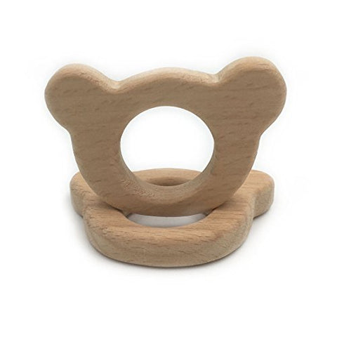 Amyster Handmade Wooden Teether Bear Pendent Organic Natural Beech Wooden Toy Hand Cut Animal DIY Jewelry Making