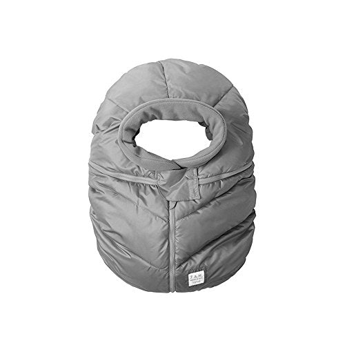 7AM Enfant Car Seat Cocoon, Wind and Water Resistant, Versatile, On-the-Go and Elasticized Car Seat Cover Micro-Fleece Lined (Metallic Grey, One Size 0-12