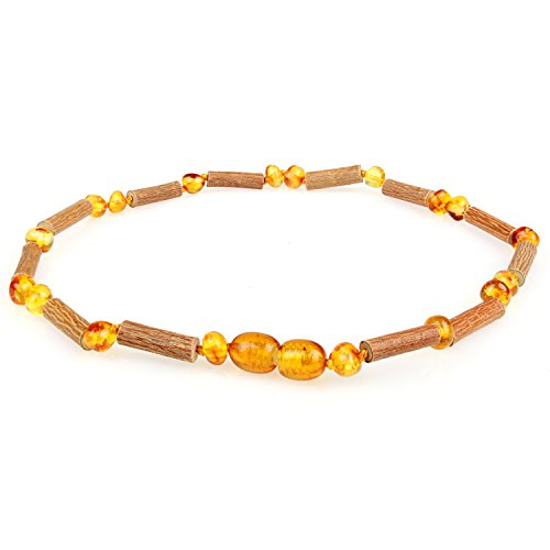 Amber & Hazelwood Necklace (Unisex, Cognac Color, 12.5 Inches), Lab-Tested, 100% Certified, Individually Knotted for Babies & Toddlers. Natural Pain Relief for Eczema, Colic, Reflux &