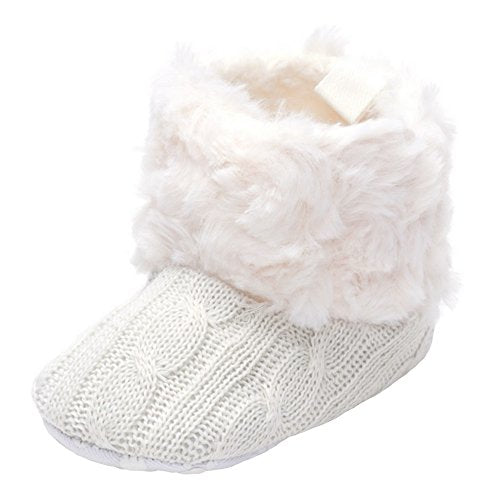 Annnowl Baby Girls Knit Soft Fur Winter Warm Snow Boots Crib