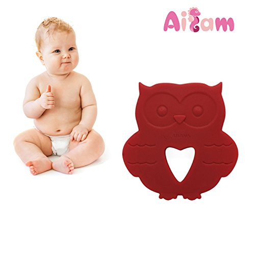 AILAMS Baby Owl Teether - Toddlers Teething Toy, Food Grade Silicone BPA Free FDA