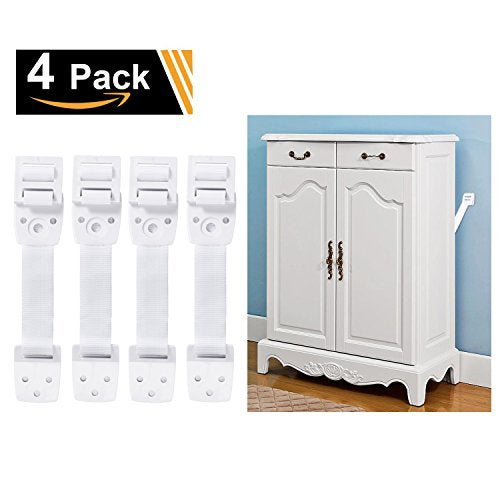 Adoric 4-Pack Anti-Tip Furniture Anchor / TV Straps Kits, Adjustable for All Flat Screens and Cabinets, Child/ Baby Proofing for Dresser Bookshelf, Mounting Hardware