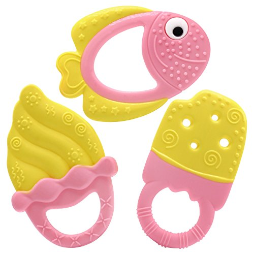 Ashtonbee Baby Teething Toys Fish and Ice Cream Set - 3 Pack Yellow and Pink Baby Teethers for