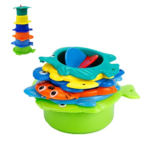 Baby Bath Toys, Stacking Cups Fun Animal Rainbow Educational Creative Toys for Girls Boys Kids 6 Pack