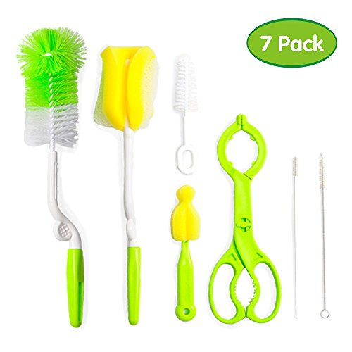 Baby Bottle Brush and Sponge 7 Set, Best for Cleaning Straws and Tubes, Nipples, Feeding and Milk Bottles, and Sippy Cups, Non-Scratch Nylon Travel Cleaner Kit with Soft Bristles and Bottle