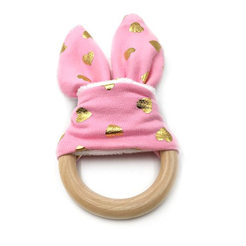 Amyster DIY Baby Teether Toy Organic Teething Rings Bunny Ear Teething Ring For Baby/Fabric And Wooden Teething Ring With Crinkle Material Inside/Sensory