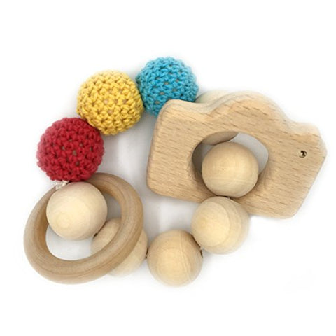 Amyster Baby Bracelet Wooden Teether Amigurumi Eco-friendly Baby Teething Toys Infant Chew Bangle Shaped Rattle Christmas