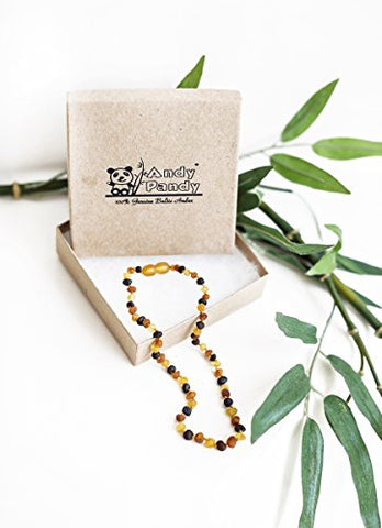 Andy Pandy Premium 100% Natural Baltic Amber Unisex Teething Necklace For Babies - Raw