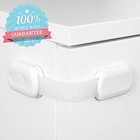 6 Pack Adjustable Baby Safety Locks for Drawers, Doors, Cabinets, Toilet Seats – No Tools, No Drills - Available in 3 Colors: White, Black, & Brown - By