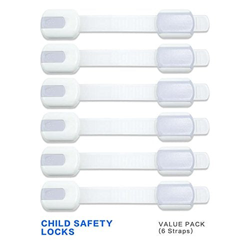 6 Straps KEKU children safety lock no tools or drilling - adjustable size flexible adhesive furniture for cabinets, drawers, appliances, toilet seat, refrigerator, oven,