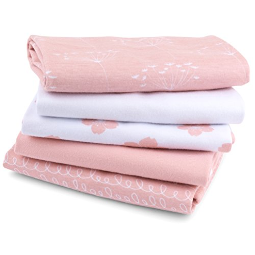 "Baby Burp Cloth,Waterproof Reversible Jersey Cotton Large Burp Cloths, Cloth Diapers 20"" x 12"" 5 Pack I Pink Combo for Baby Girl by Ely's &"