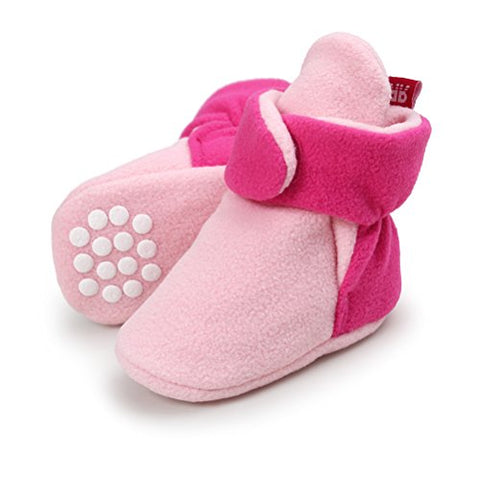 Neband Newborn Cozie Fleece Bootie, Unisex Infant Toddler Slippers Crib Shoes Warm Boots With Non Skid