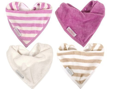 4 Pack Water Resistant Organic Cotton Bandana Style Bibs 0-2