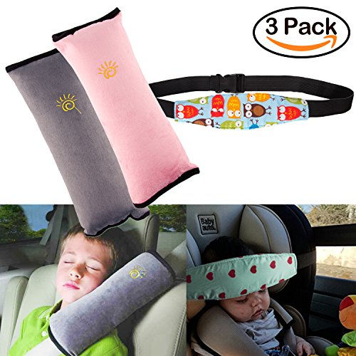3Pack Seatbelt Pillow Car Seat Belt Covers for Kids, Adjust Vehicle Shoulder Pads Safety Belt Protector Cushion Plush Soft Auto Seat Belt Strap Cover Headrest Neck Support for Children